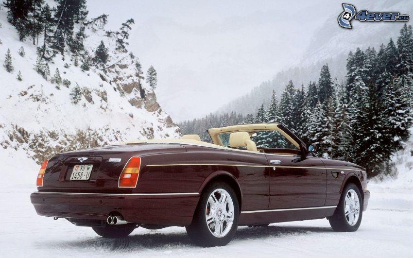 Bentley Azure, cabriolet, snöklädda berg, barrträd