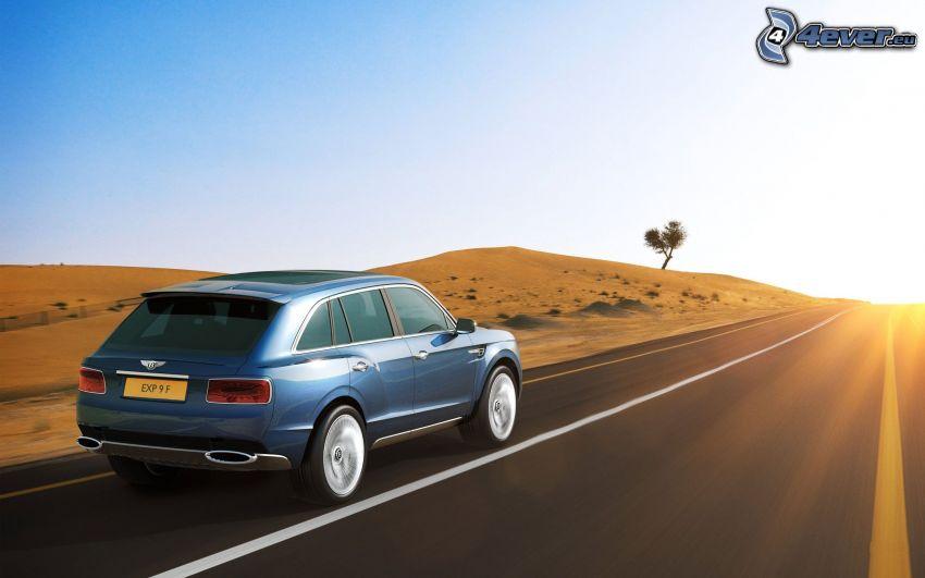 Bentley EXP 9F, väg, solnedgång