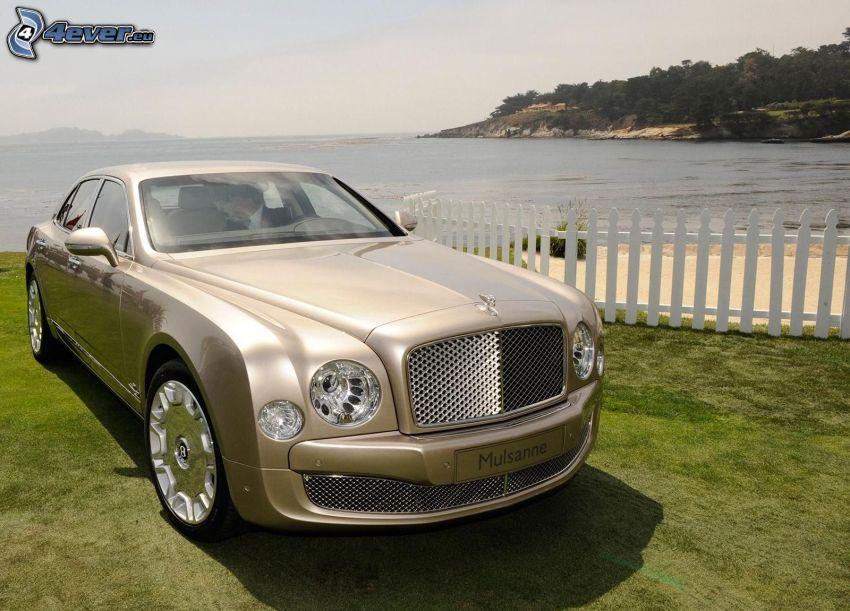 Bentley Mulsanne, trästaket, hav, gräs