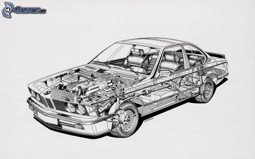 BMW, konstruktion, tecknad bil