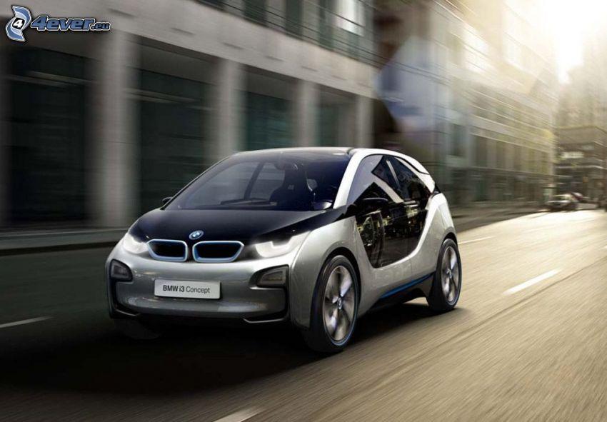 BMW i3, väg, byggnader, sol