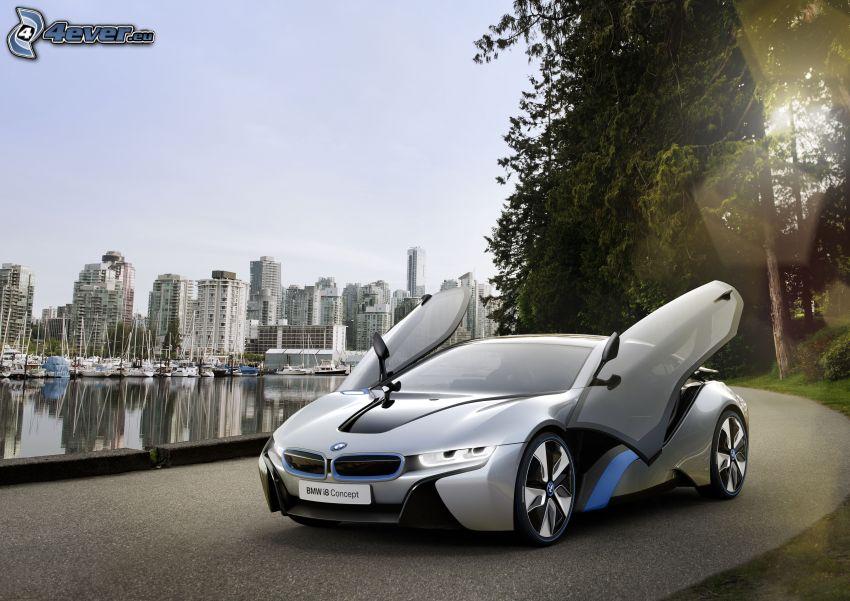 BMW i8, dörr, hamn, skyskrapor