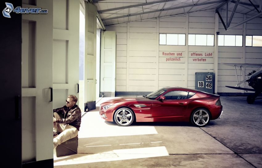 BMW Zagato, garage, man