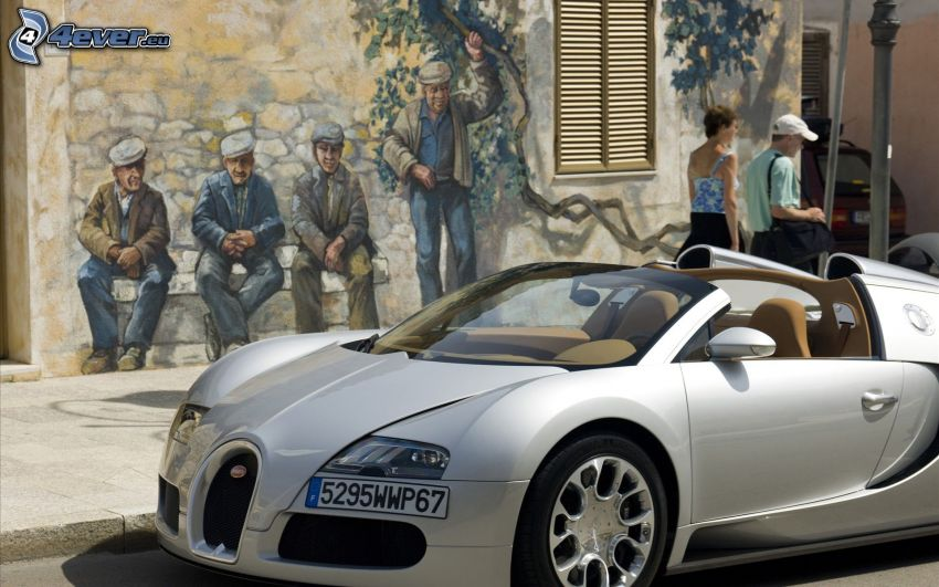 Bugatti Veyron, graffiti, människor
