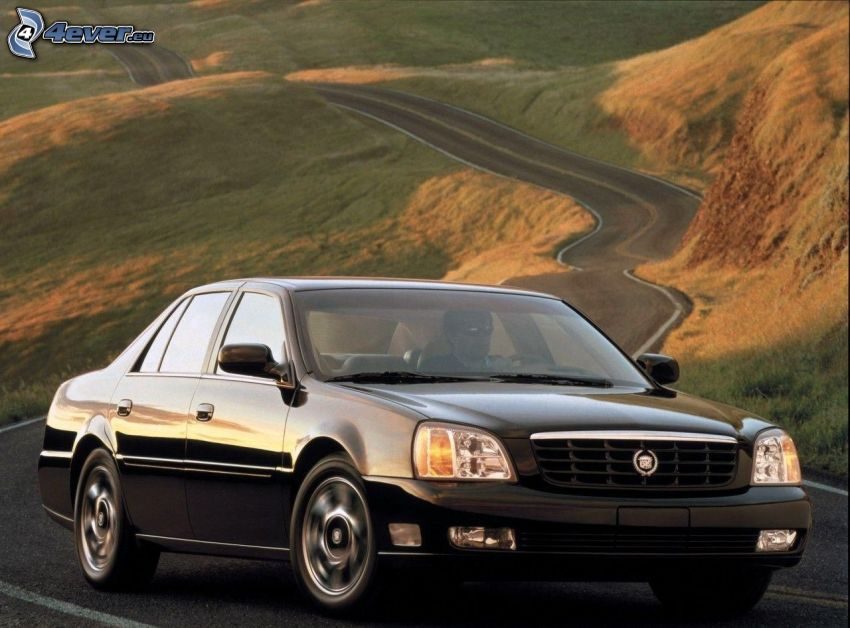 Cadillac, slingrande väg, kullar