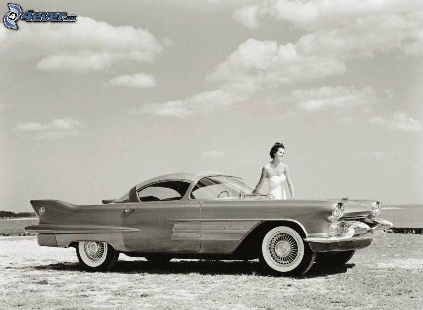 Cadillac, veteran, kvinna, svart och vitt