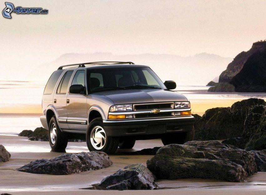 Chevrolet, SUV, klippor, strand, hav