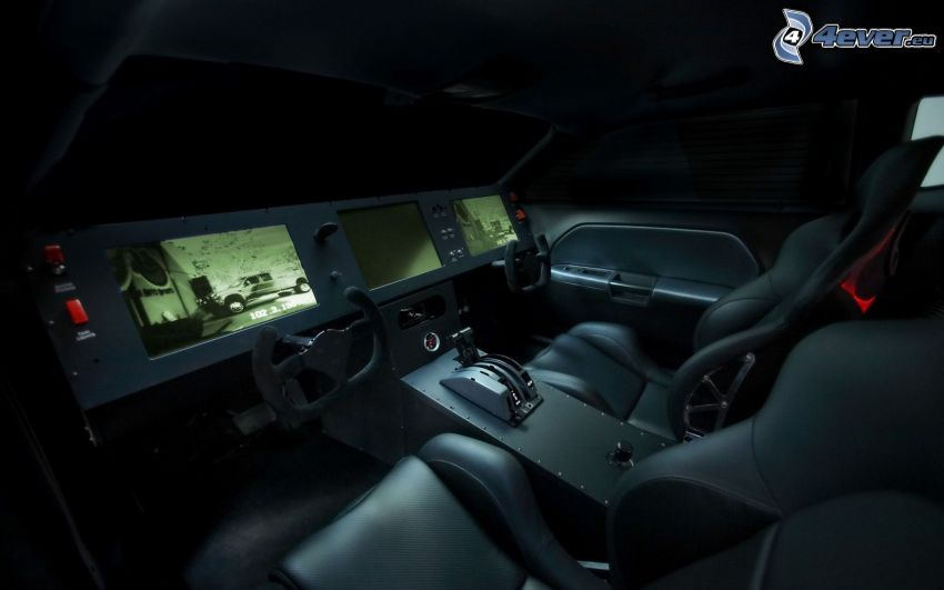 Dodge Challenger, interiör, skärmar