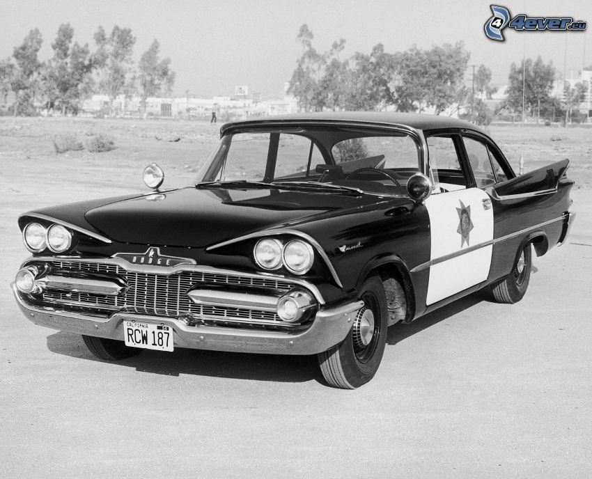 Dodge Coronet, veteran, svart och vitt