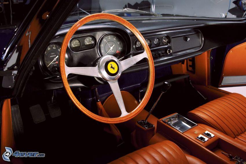 Ferrari 275GTB, interiör, ratt, instrumentbräda