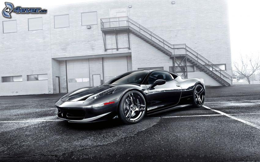 Ferrari 458 Italia, svartvitt foto