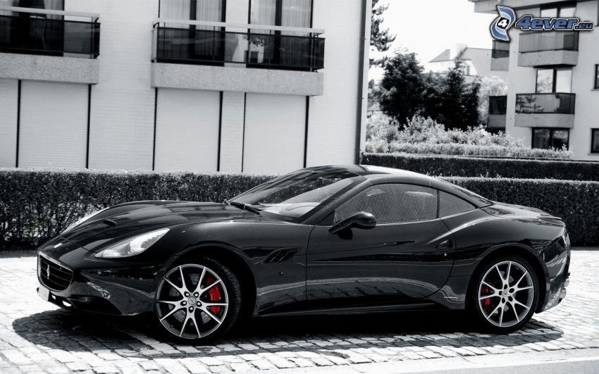 Ferrari California GT, svartvitt foto
