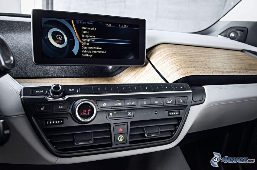 inredning av BMW i3, navigering, bilradio
