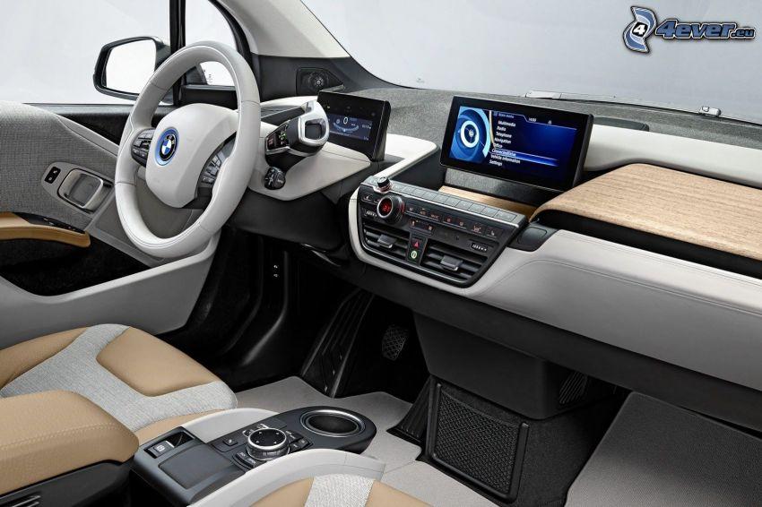 inredning av BMW i3, navigering, ratt