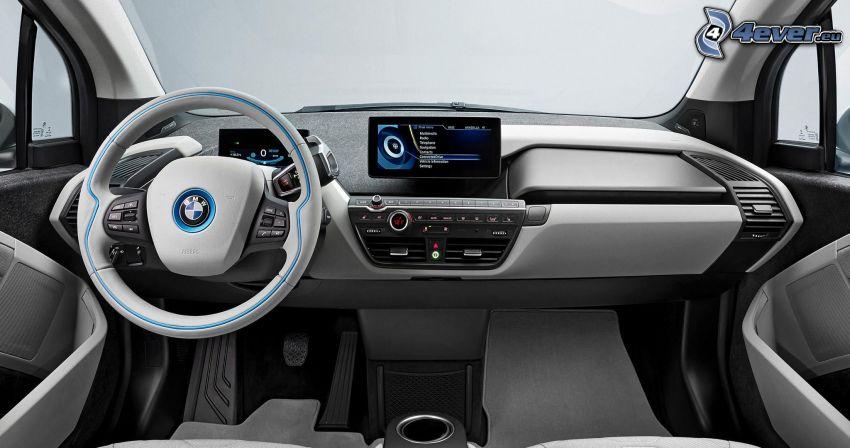 inredning av BMW i3, ratt, instrumentbräda