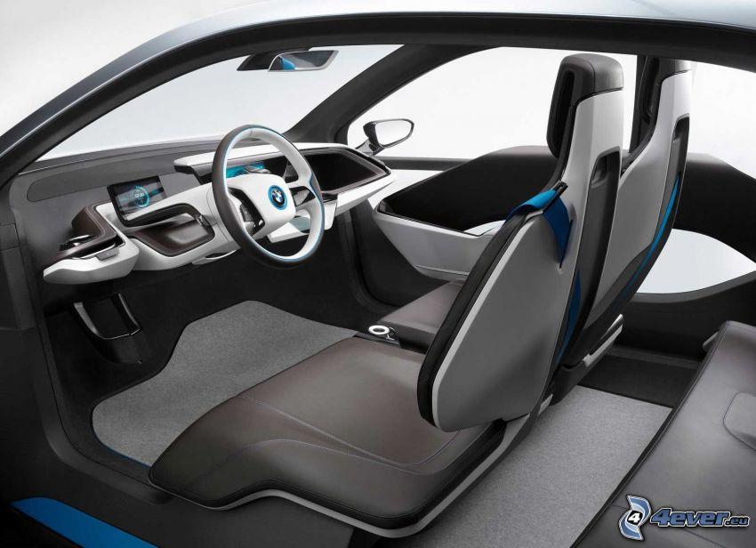 inredning av BMW i3, ratt, säten