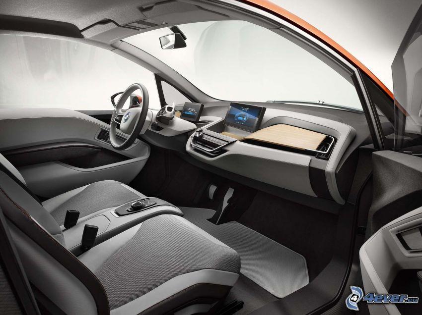 inredning av BMW i3, säten, instrumentbräda