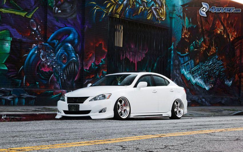 Lexus IS 300, lowrider, väg, graffiti