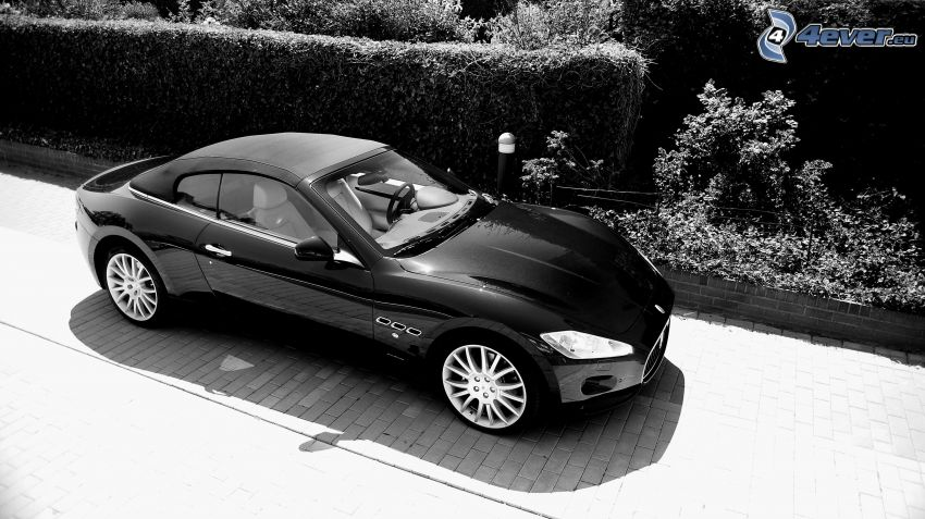 Maserati GranCabrio, svartvitt foto