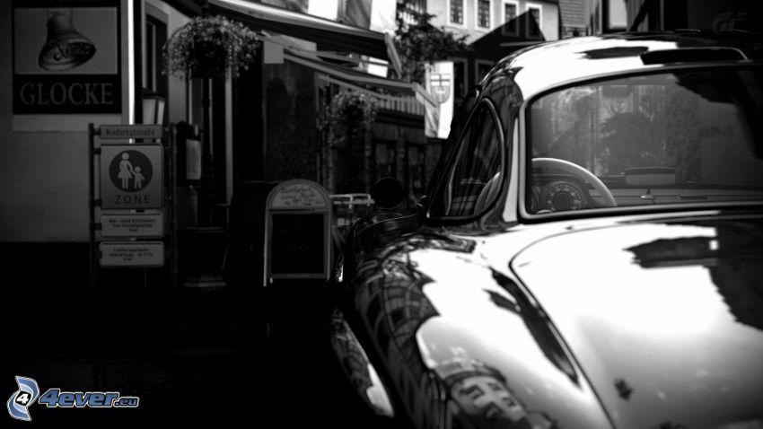 Mercedes-Benz 300SL, veteran, svart och vitt