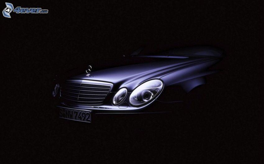 Mercedes-Benz E, strålkastare, frontgaller