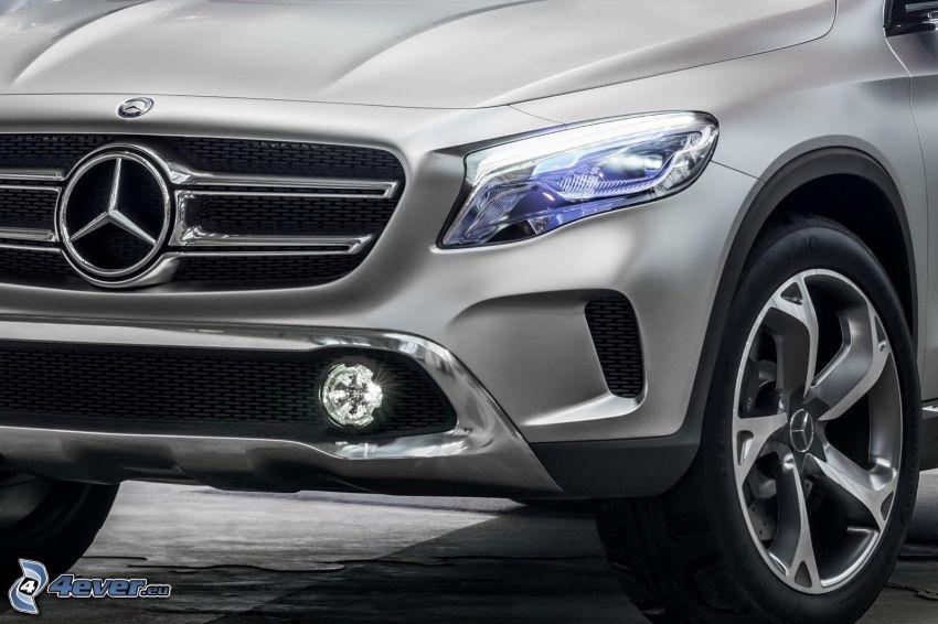 Mercedes-Benz GLA, frontgaller, strålkastare, hjul