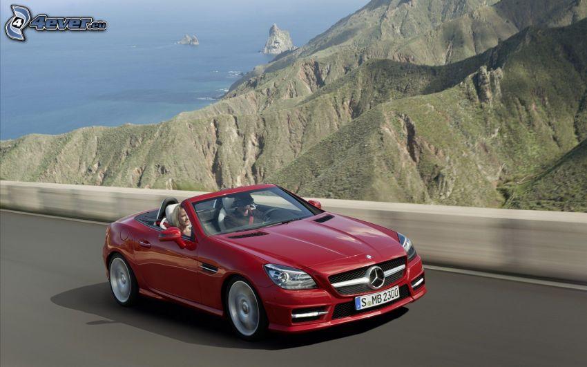 Mercedes-Benz SLK, cabriolet, kullar, hav