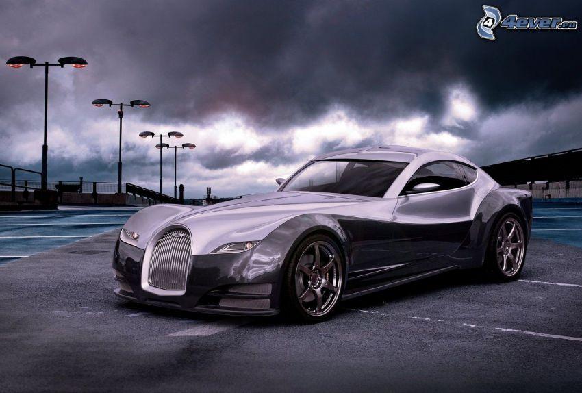 Morgan EvaGT, parkering, gatlyktor, mörka moln