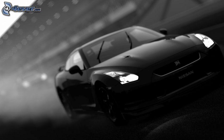 Nissan GT-R, svart och vitt
