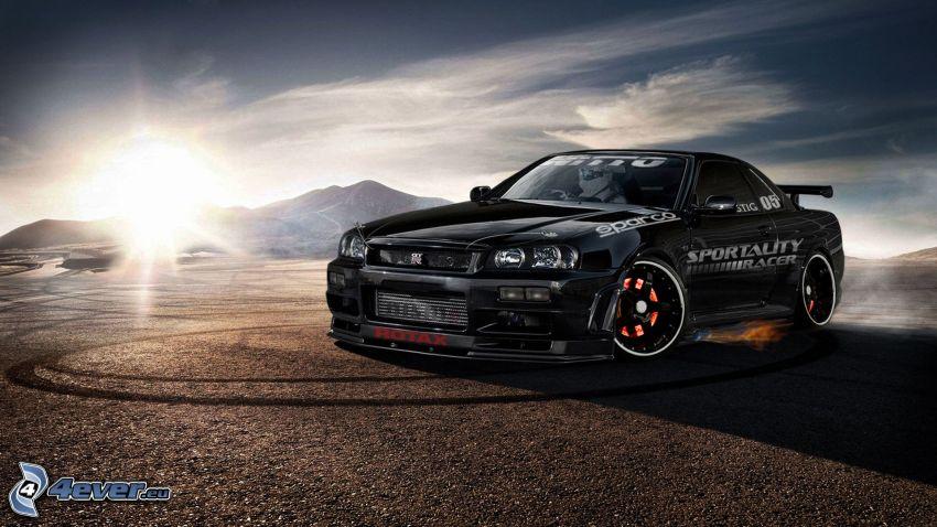 Nissan Skyline, solnedgång, drifting