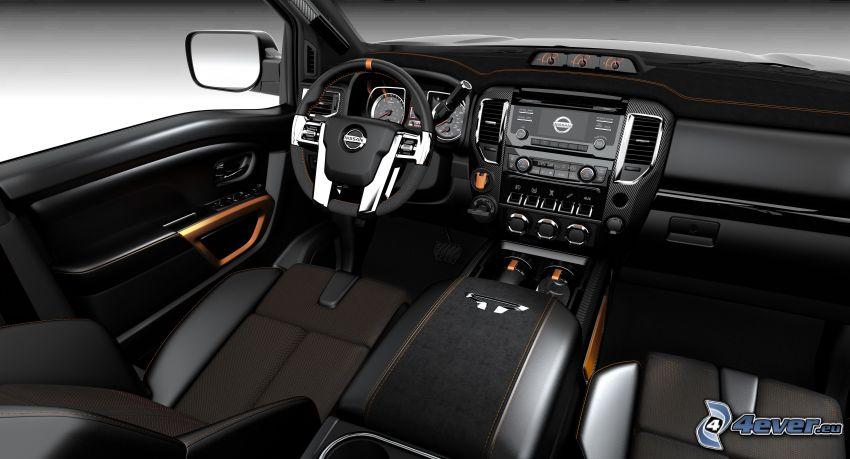 Nissan Titan, interiör, instrumentbräda, ratt