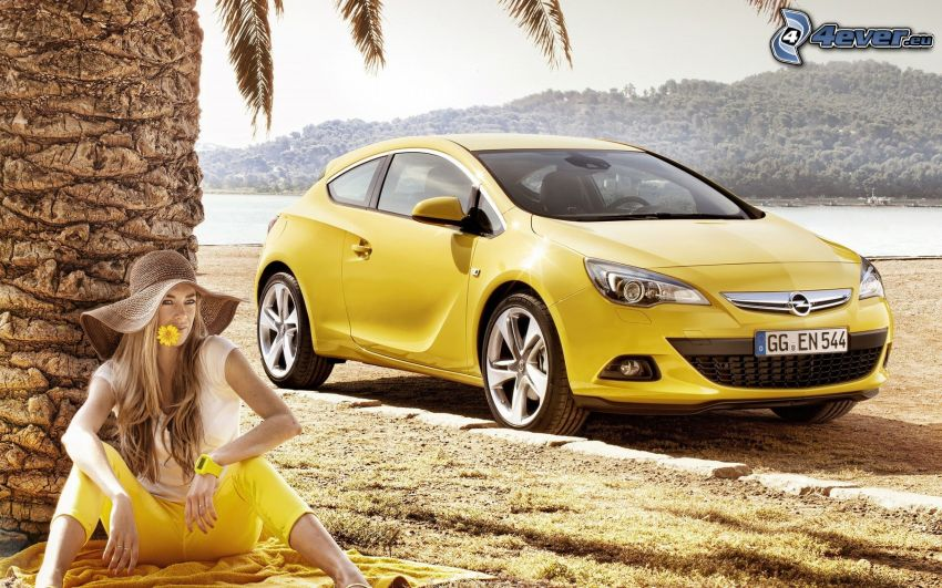 Opel Astra, kvinna, palm