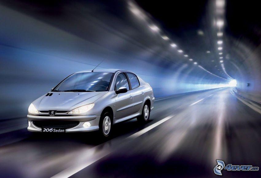 Peugeot 206, fart, tunnel