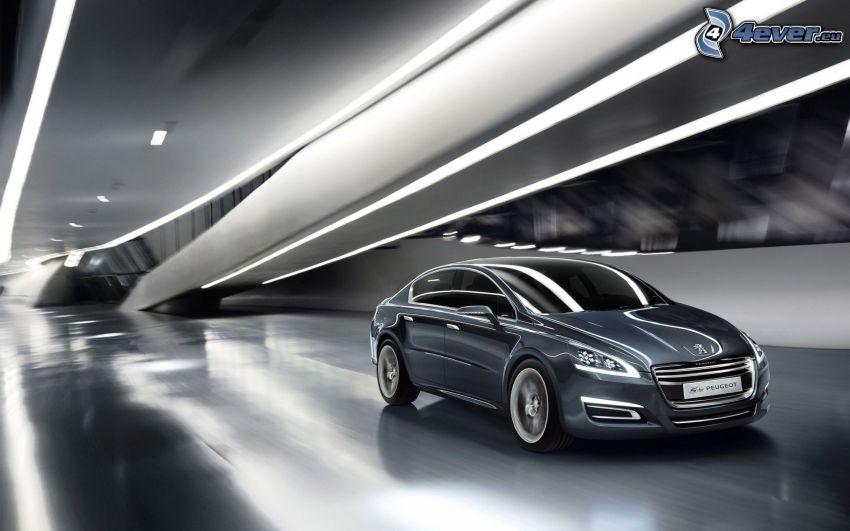 Peugeot 508, tunnel, fart, svart och vitt