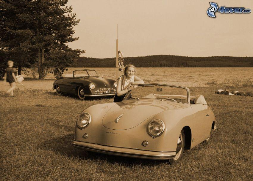 Porsche 356, veteran, cabriolet, kvinna, gammalt foto