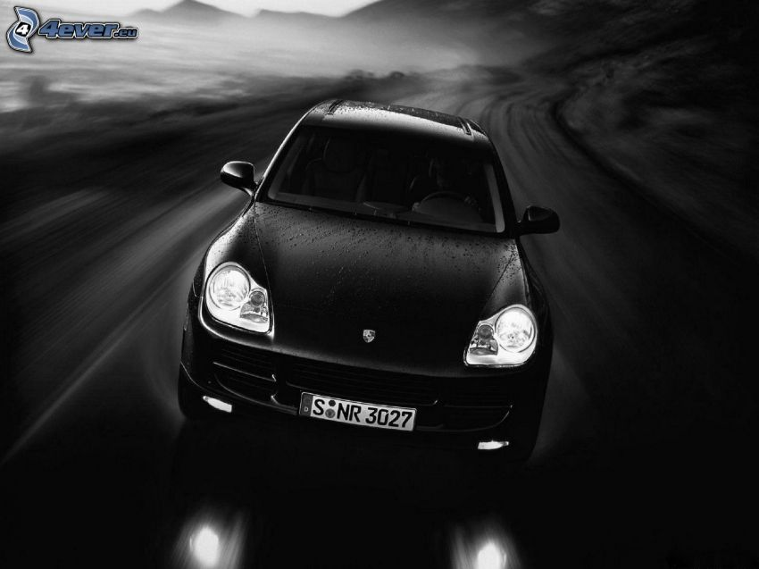 Porsche Cayenne, fart, svart och vitt