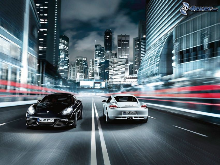 Porsche Cayman, fart, stad, natt