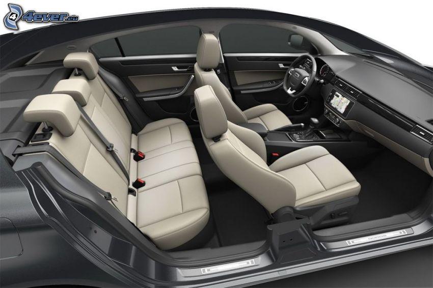 Qoros 3 Sedan, interiör, säten