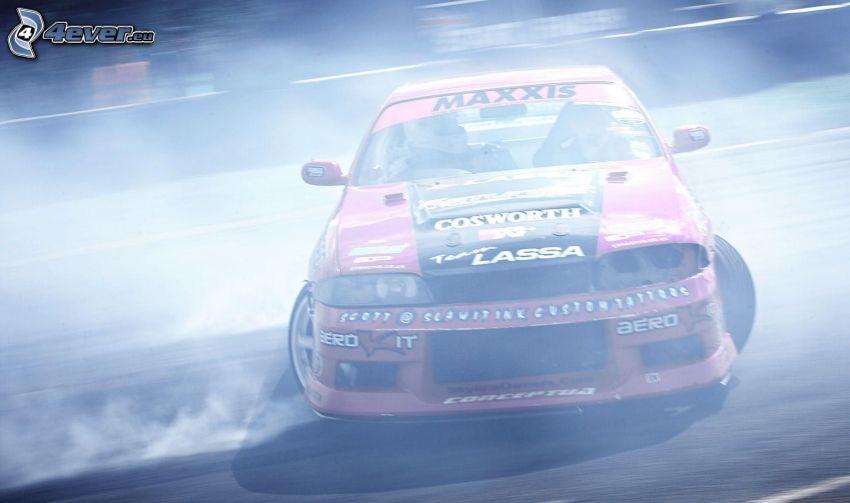 racerbil, drifting, rök