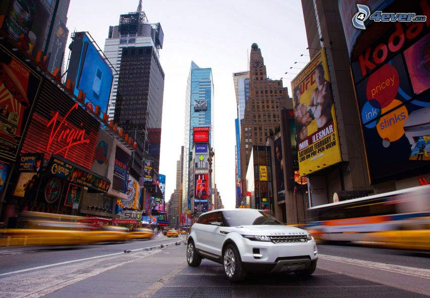 Range Rover Evoque, Times Square, New York, gata