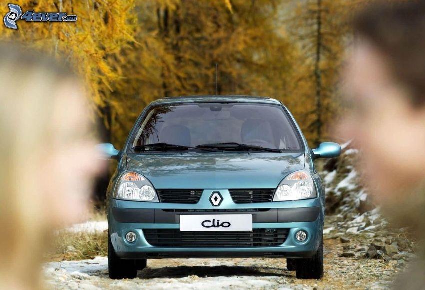 Renault Clio, silhuett av kvinna och man