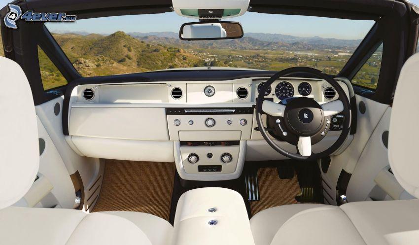 Rolls Royce Phantom, cabriolet, interiör, ratt