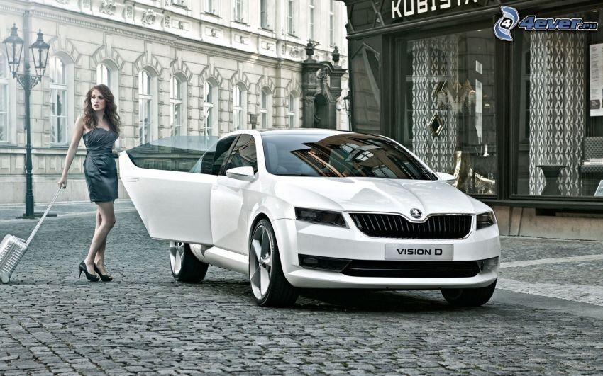 Škoda Vision D, koncept, kvinna, torg, beläggning