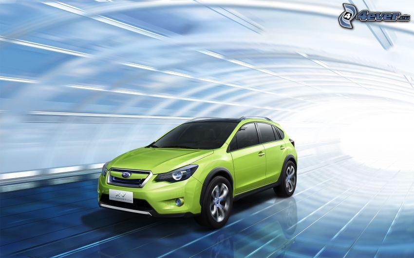 Subaru, koncept, fart, tunnel