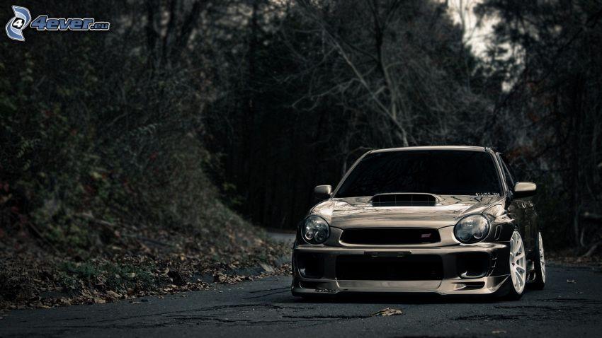 Subaru Impreza, lowrider, mörk skog