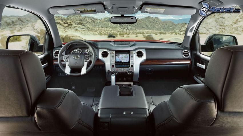 Toyota Tundra, interiör, instrumentbräda, ratt, bergskedja