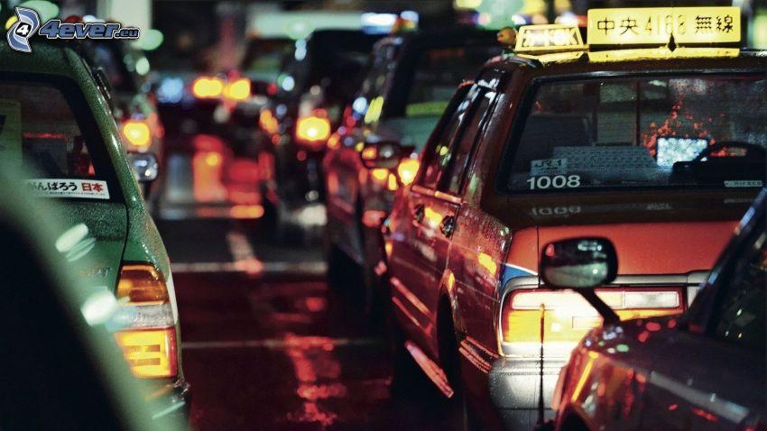 trafikstockning, bilar, nattresa