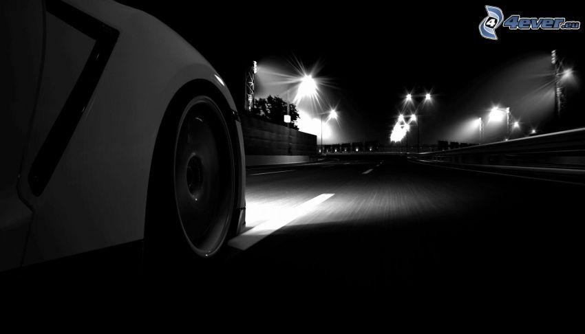 väg, hjul, natt, belysning, svart och vitt