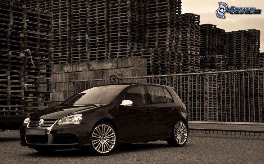 Volkswagen Golf, svartvitt foto