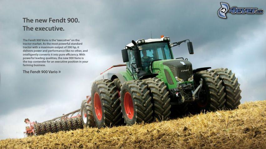 Fendt 900, traktor på fält, skörd